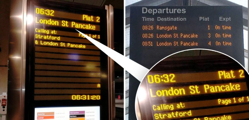 Commuters left confused after Network Rail rename London's St Pancras to 'St Pancake' to celebrate Shrove Tuesday