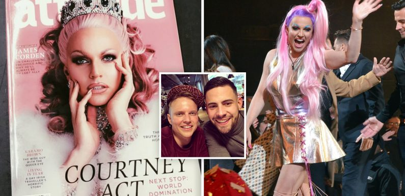 Winner of Celebrity Big Brother and RuPaul's star Courtney Act owns diamond crown on front cover of Attitude Magazine