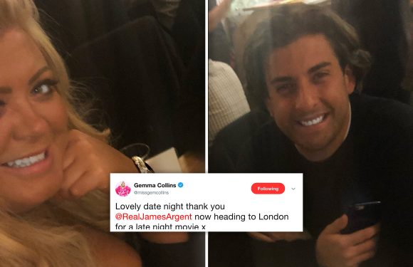 Gemma Collins takes 'date night' selfie in busy restaurant after hitting London with TOWIE co-star James Argent for 'late night movie'
