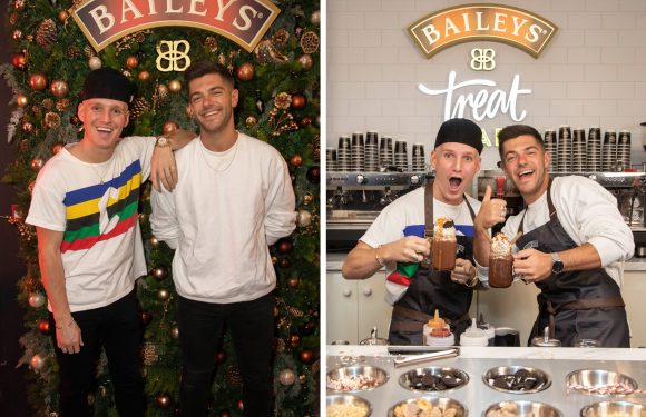 Made in Chelsea's Jamie Laing and Alex Mytton spotted in Central London going head to head at posh festive Baileys bar which opens today