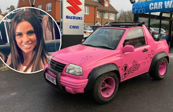 Katie Price lists her pink 'Barbie Car' on eBay after she is banned from driving – bids have now topped £66k after listing it for just £595