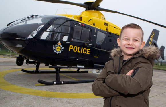Special surprise for 'wonderful' five-year-old Lewis Anderson who spent Christmas Day handing out sweets to members of the emergency services