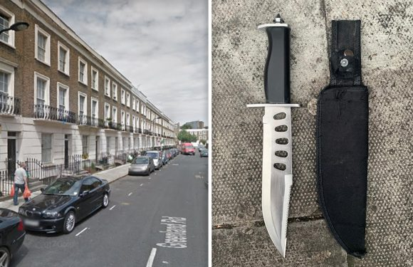Police find MASSIVE knife on man 'messing around with his waistband' and 'looking very suspicious' while walking in Camden