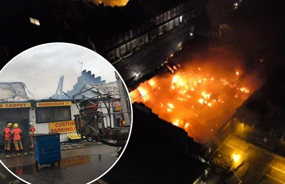 Giant 'fireball' blaze in Greater Manchester causes city chaos as more than 40 are evacuated from their Old Trafford homes