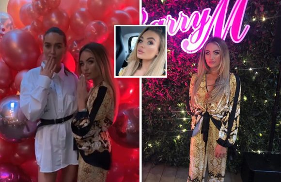 TOWIE newbie Ella Rae Wise sports Versace-inspired two piece as she attends Barry M Cosmetics' 'glitter glow up' party in London