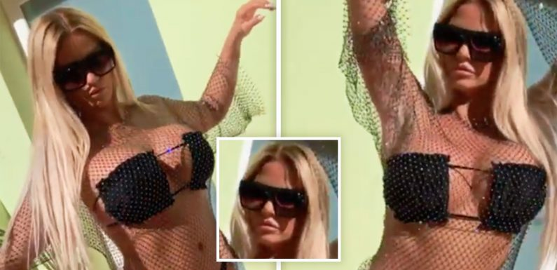 Katie Price shows off her pout as she promotes diamanté top and skimpy bikini in revealing video clip on her official Instagram