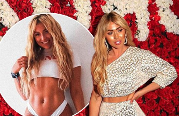 Reality star Sam Dewhurst leaves little to the imagination as she shows off her dramatic body transformation in new Instagram snap