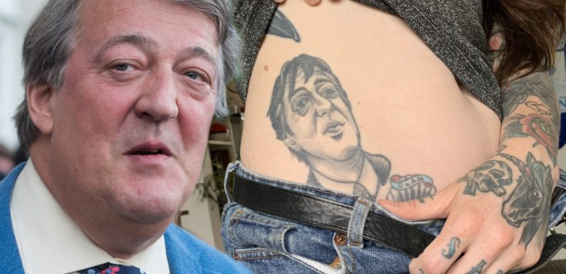 Woman who had Stephen Fry tattooed on her hip for five years shows the British TV star on Twitter and his reply was absolutely hilarious