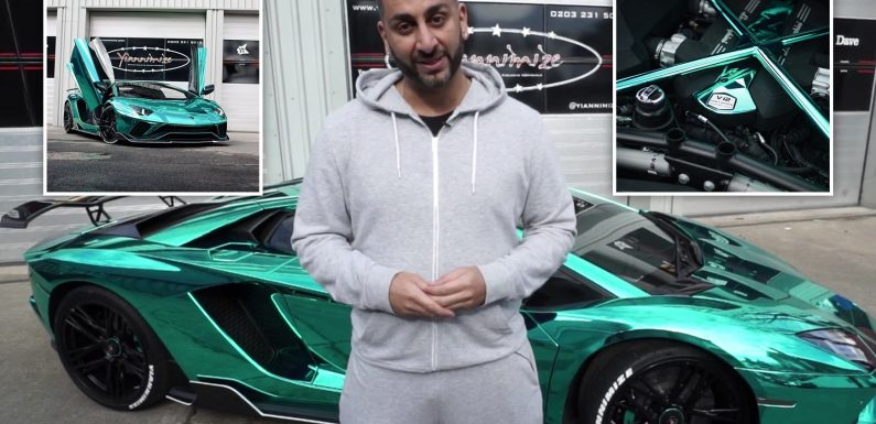 Yianni Charalambous divides viewers with new 'game changing' chrome turquoise vinyl wrap on his Lamborghini