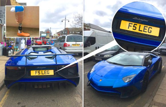 Amputee Instagram MILLIONAIRE parks £400,000 Lamborghini Aventador SV outside bank with new 'LEG' number plate