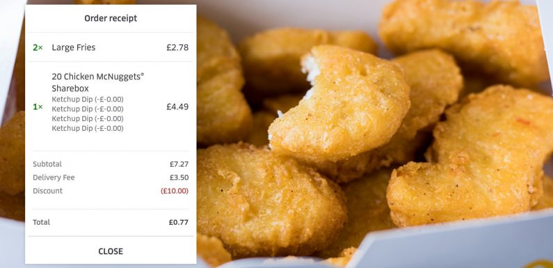 Fast food-loving Brit pays just 77p for McDonald's 20 chicken nugget sharebox and two large fries using Uber Eats discount