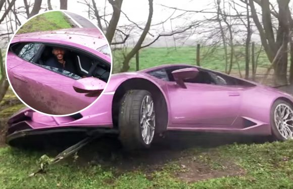 'It'll buff out': Millionaire Bitcoin investor crashes £290k 1of1 purple Lamborghini into ditch and blames 'standing water'