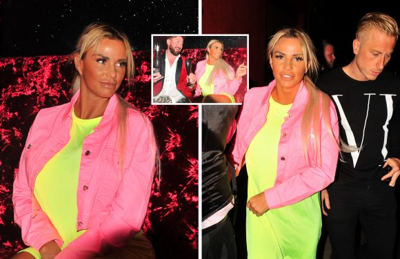 Katie Price sports neon pink and yellow outfit as she 'avoids snaps' with toyboy Kris Boyson when opening new Fetch gay club in Norwich
