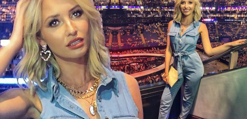 Love Island's Amy Hart looks effortlessly chic in blue denim jumpsuit as she attends Ariana Grande concert at O2 Arena in London