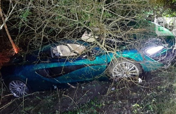 Superca-n't! McLaren driver loses control and skids into ditch