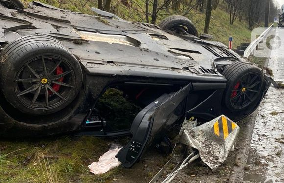 £250,000 Ferrari 812 flips onto roof in motorway crash