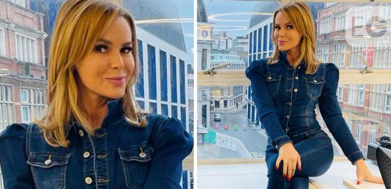 Amanda Holden wows fans in double denim at radio studio