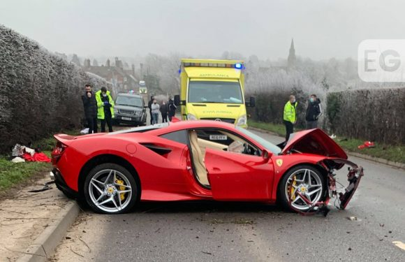 Ferrari driver, 60, arrested after crashing into pedestrian