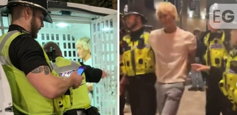 Cops carry drunk former X Factor star into police van