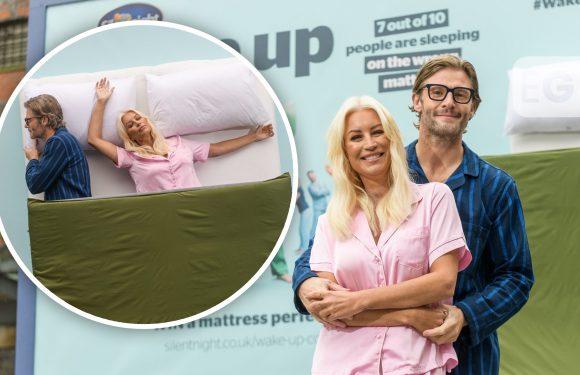 TV's Denise Van Outen suspended on 6-metre billboard